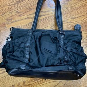 Burberry Diaper Bag Black Tonal Check Pattern